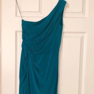 One shoulder Adriana Papell teal/green dress